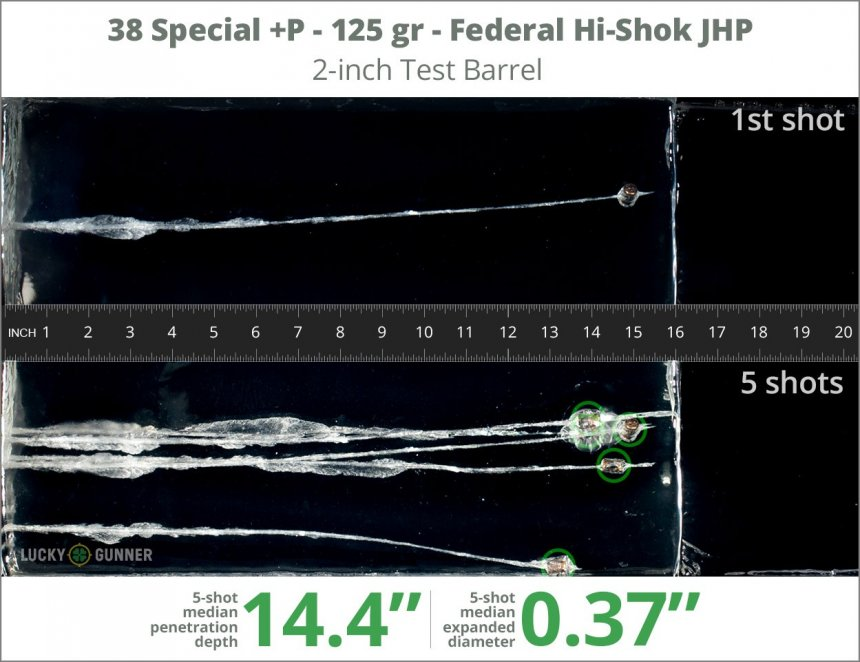Image showing Federal .38 Special 125 Grain rounds fired into ballistic gel
