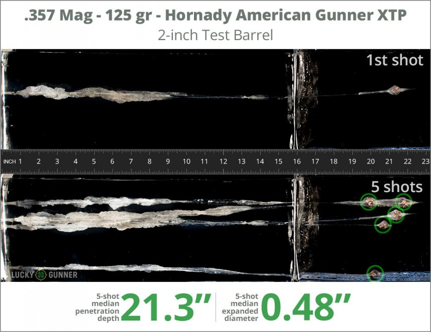 Image showing Hornady .357 Magnum 125 Grain rounds fired into ballistic gel