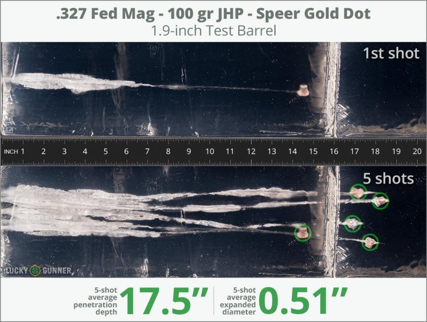 Image showing Speer .327 Federal Magnum 100 Grain rounds fired into ballistic gel