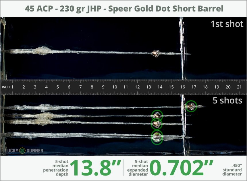 Image showing Speer .45 ACP (Auto) 230 Grain rounds fired into ballistic gel