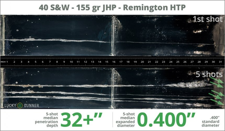 Image showing Remington .40 S&W (Smith & Wesson) 155 Grain rounds fired into ballistic gel