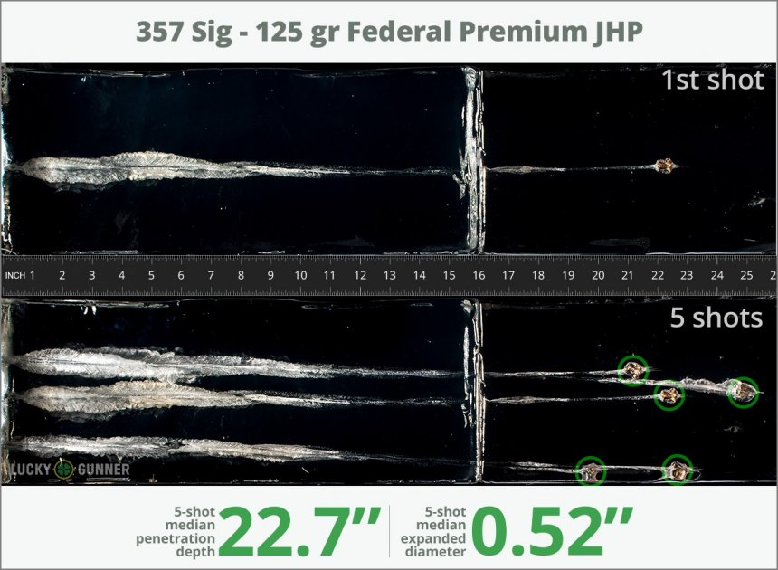 Image showing Federal .357 Sig 125 Grain rounds fired into ballistic gel