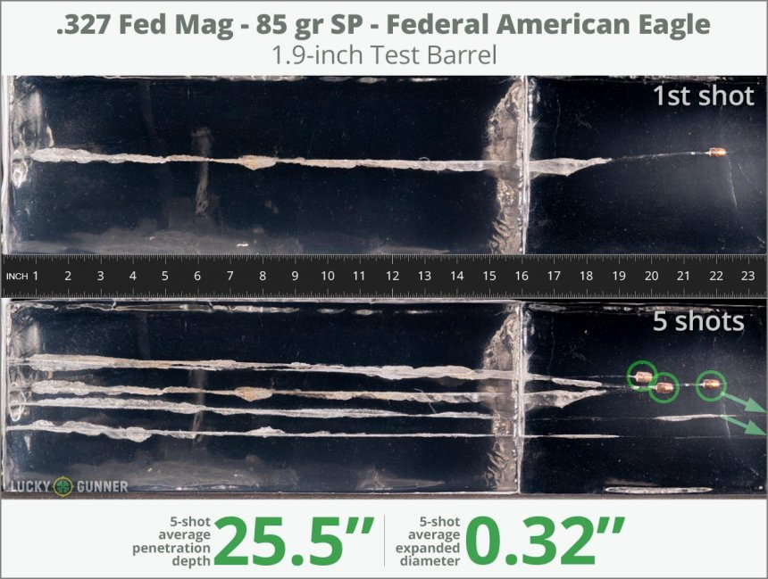 Image showing Federal .327 Federal Magnum 85 Grain rounds fired into ballistic gel