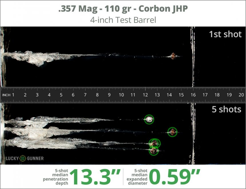Image showing Corbon .357 Magnum 110 Grain rounds fired into ballistic gel