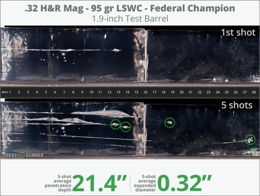 Image showing Federal .32 H&R Magnum 95 Grain rounds fired into ballistic gel