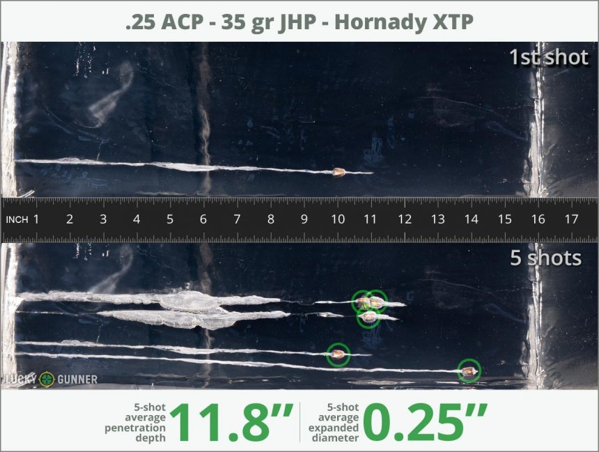 Image showing Hornady .25 Auto (ACP) 35 Grain rounds fired into ballistic gel