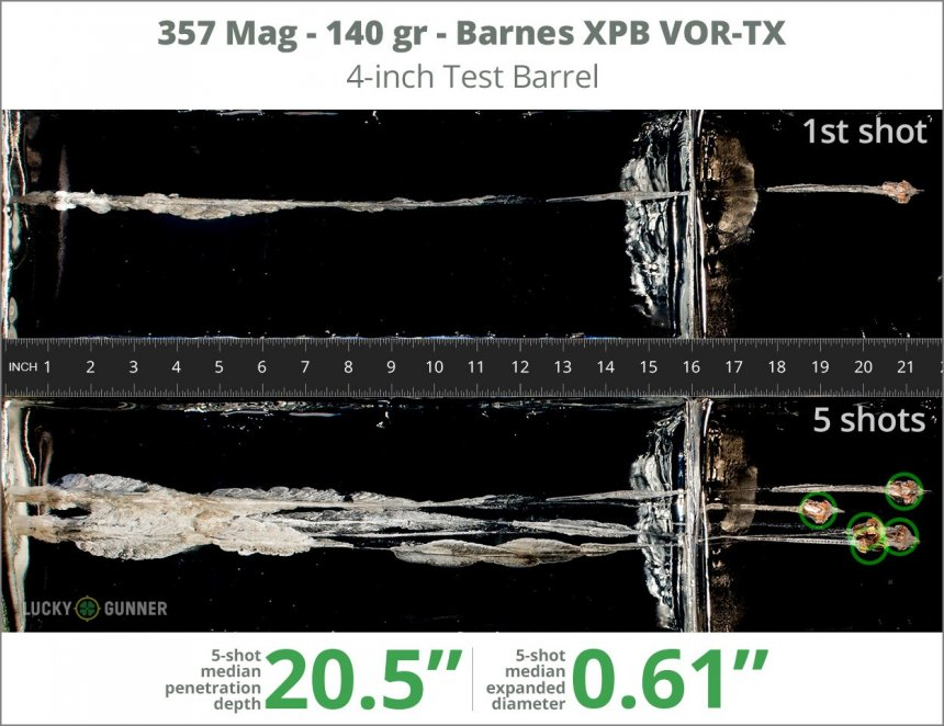 Image showing Barnes .357 Magnum 140 Grain rounds fired into ballistic gel