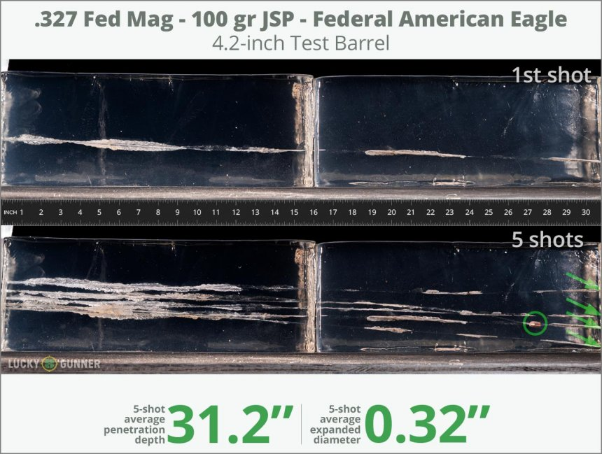 Image showing Federal .327 Federal Magnum 100 Grain rounds fired into ballistic gel