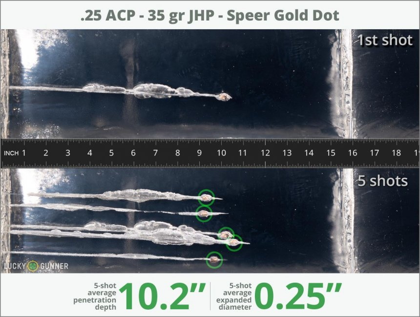 Image showing Speer .25 Auto (ACP) 35 Grain rounds fired into ballistic gel