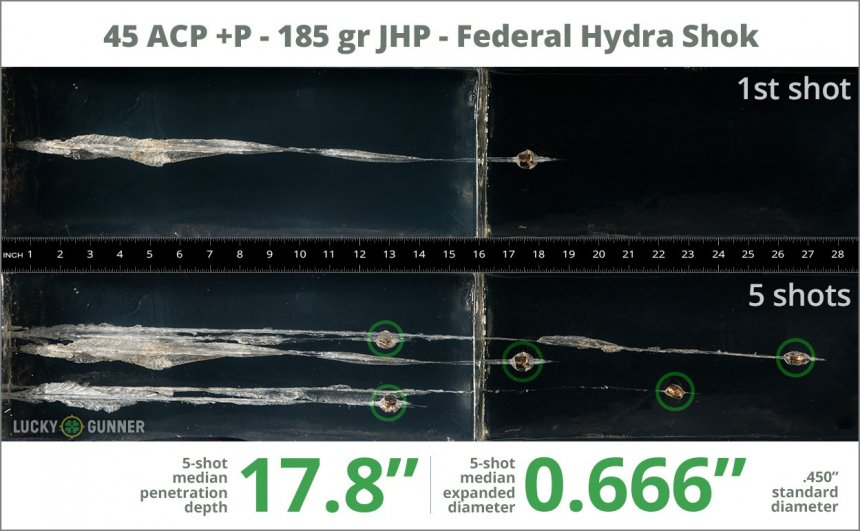 Image showing Federal .45 ACP (Auto) 185 Grain rounds fired into ballistic gel
