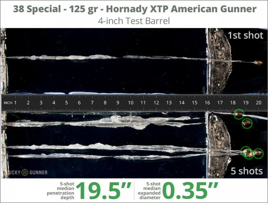 Image showing Hornady .38 Special 125 Grain rounds fired into ballistic gel