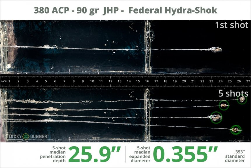 Image showing Federal .380 Auto (ACP) 90 Grain rounds fired into ballistic gel