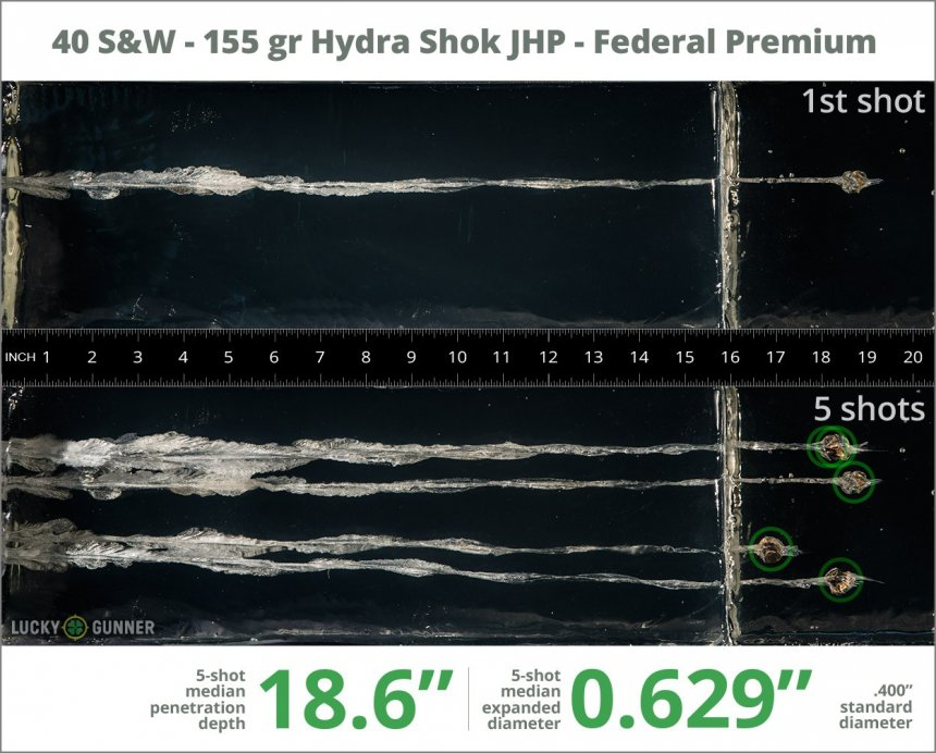 Image showing Federal .40 S&W (Smith & Wesson) 155 Grain rounds fired into ballistic gel
