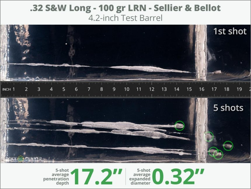Image showing Sellier & Bellot .32 (Smith & Wesson) Long 100 Grain rounds fired into ballistic gel