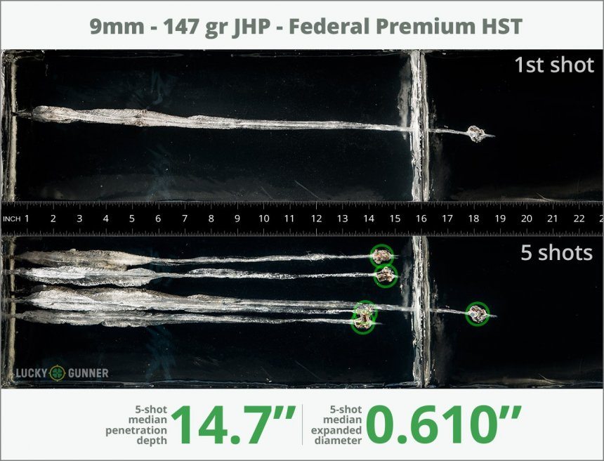 Image showing Federal 9mm Luger (9x19) 147 Grain rounds fired into ballistic gel