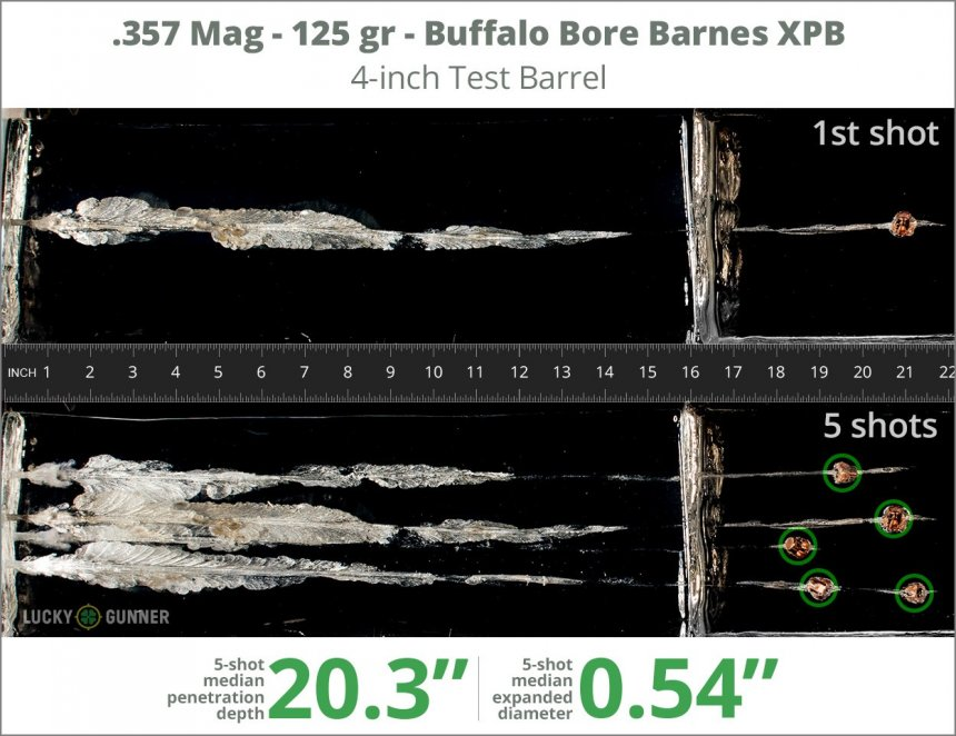 Image showing Buffalo Bore .357 Magnum 125 Grain rounds fired into ballistic gel