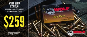 photo of Wolf Gold 223 55 grain FMK ammo