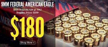 photo of federal american eagle 9mm 124gr FMJ ammo