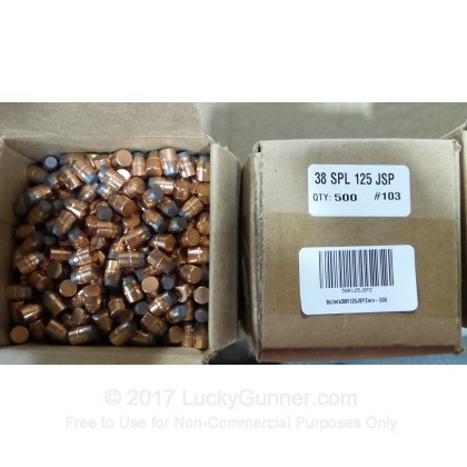 "Large image of Premium 38 Special / 357 Magnum (.357"") Bullets for Sale - 125 Grain JSP Bullets in Stock by Zero Bullets - 500 Projectiles"
