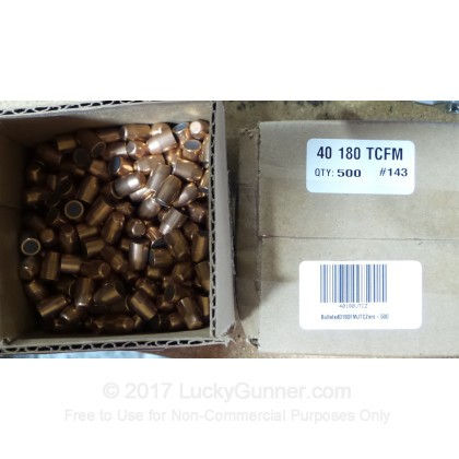 "Large image of Premium 40 S&W (.400"") Bullets for Sale - 180 Grain FMJ-TC Bullets in Stock by Zero Bullets - 500 Projectiles"