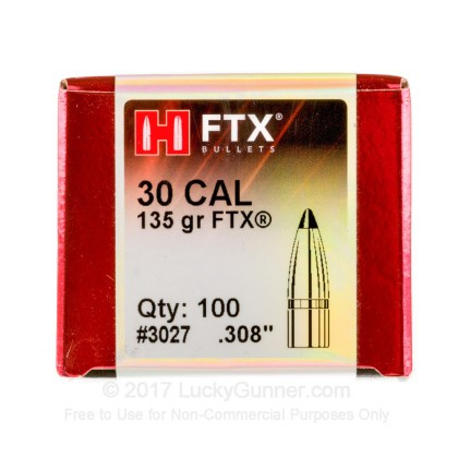 Large image of Premium .308 Bullets For Sale - 135 Grain FTX Bullets in Stock by Hornady - 100