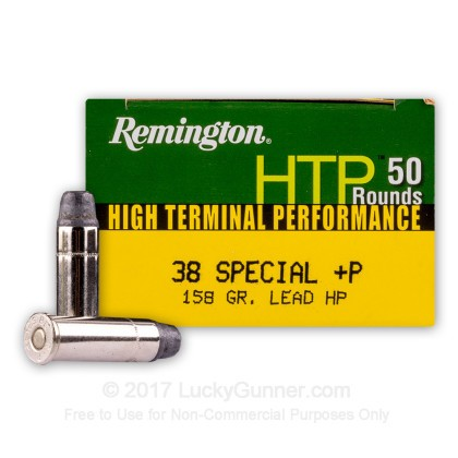 Large image of Premium 38 Special +P 158 Grain Lead Hollow Point Ammo From Remington HTP for Sale At Lucky Gunner - 50 Rounds