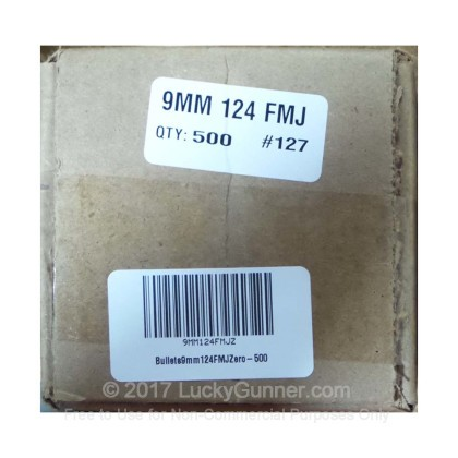 """Large image of Premium 9mm (.355"""") Bullets for Sale - 124 Grain FMJ Bullets in Stock by Zero Bullets - 500 Projectiles"""