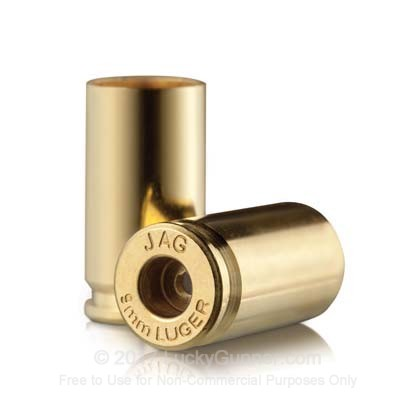 Large image of Bulk 9mm Luger Ammo For Sale - New Unprimed Brass Ammunition in Stock by Jagemann - 100 Casings