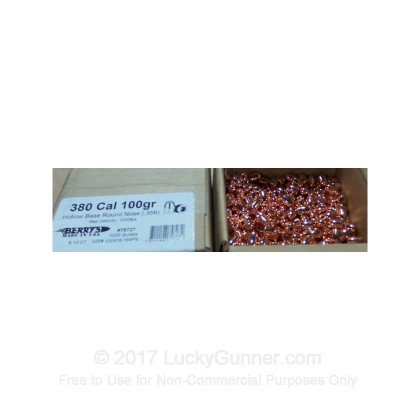Large image of Berry's 380 Caliber RNHB 100gr Plated Bullets For Sale - (1000)