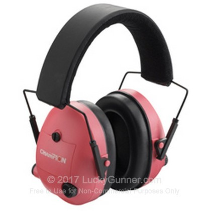 Large image of Champion Pink Electronic Earmuffs For Sale - 25 NRR - Champion Hearing Protection in Stock