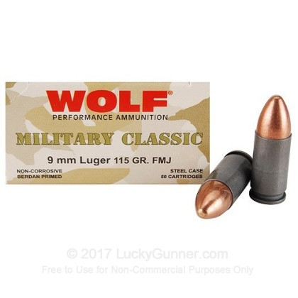 Image 1 of Wolf 9mm Luger (9x19) Ammo