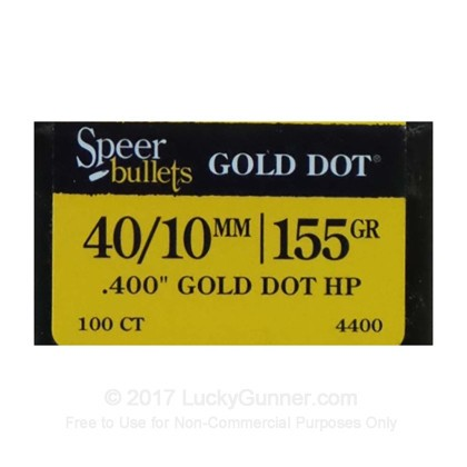 Large image of Bulk 40 S&W (.400) Bullets for Sale - 155 Grain JHP Bonded Bullets in Stock by Speer Gold Dot - 100