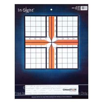 Large image of Champion Targets For Sale - In-Sight 100 Yard Small Bore Sight-In Targets - 12 Pack