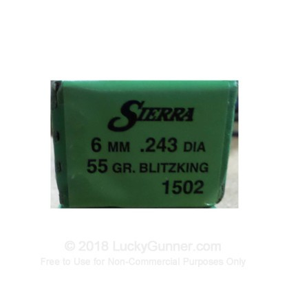 Large image of Bulk 243 Win (.243) Bullets For Sale - 55 Grain Polymer Tip Bullets in Stock by Sierra - 100