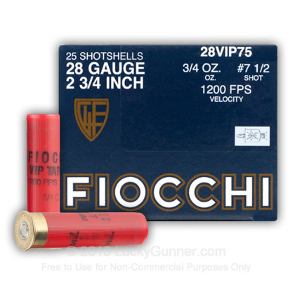 Large image of Bulk 28 Ga Fiocchi #7-1/2 Target Ammo For Sale - Fiocchi Premium Exacta 28 Ga Shells - 250 Rounds