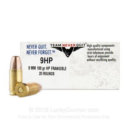Image 1 of Team Never Quit 9mm Luger (9x19) Ammo