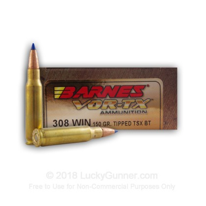 308 Winchester - 150 gr Lead Free TTSX Hollow Point Barnes ...