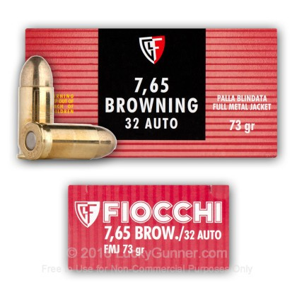 Large image of 32 ACP Ammo - 73 gr FMJ - Fiocchi - 50 Rounds