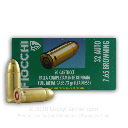 Large image of Bulk 32 ACP Ammo - 73 gr FMJ - Fiocchi Leadless - 1000 Rounds