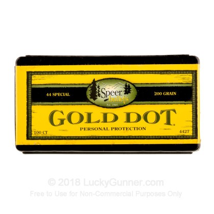 Large image of Premium 44 Cal Bullets For Sale - Bonded JHP 200 Grain Bullets in Stock by Speer Gold Dot - 100 Bullets