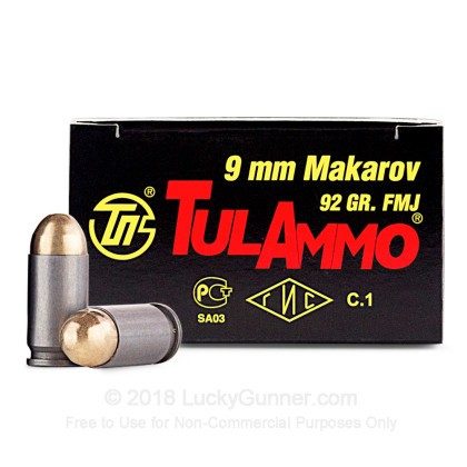 Large image of Bulk 9x18mm Mak Ammo For Sale - 92 Grain FMJ Ammunition in Stock by Tula - 1000 Rounds