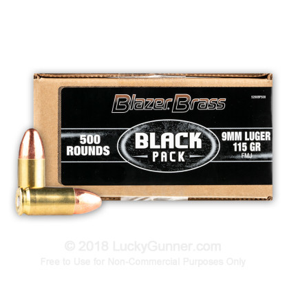bulk 9mm ammo for sale 115 gr fmj blazer brass black ammunition in