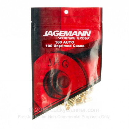 Large image of Bulk 380 ACP Casings For Sale - New Unprimed Brass Casings in Stock by Jagemann - 100 Casings