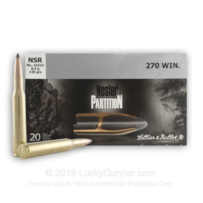 Large image of 270 Win Ammo For Sale - 130 gr Nosler Partition - Sellier & Bellot Ammo Online - 20 Rounds
