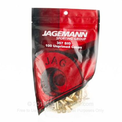 Large image of Bulk 357 SIG Casings For Sale - New Unprimed Brass Casings in Stock by Jagemann - 100 Casings