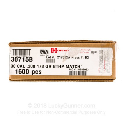 Large image of Bulk 308 (.308) Bullets For Sale - 178 Grain HPBT Match Bullets in Stock by Hornady - 1600