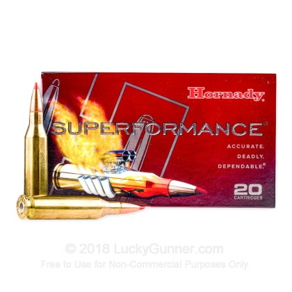 Large image of 243 Win Ammo In Stock  - 95 gr Hornady Superformance SST Polymer Tip Ammunition For Sale Online - 20 Rounds