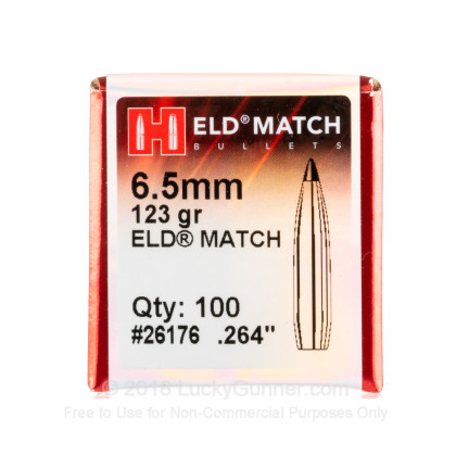 "Large image of Premium 6.5mm (.264"") Bullets For Sale - 123 Grain ELD Match Bullets in Stock by Hornady - 100 Projectiles"
