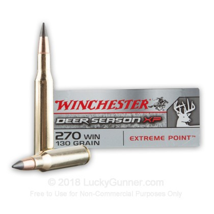 Large image of Cheap 270 Ammo For Sale - 130 Grain Extreme Point PT Ammunition in Stock by Winchester Deer Season XP - 20 Rounds