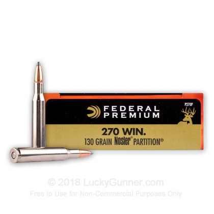 Large image of Premium 270 Ammo For Sale - 130 Grain Nosler Partition SP Ammunition in Stock by Federal Vital-Shok - 20 Rounds